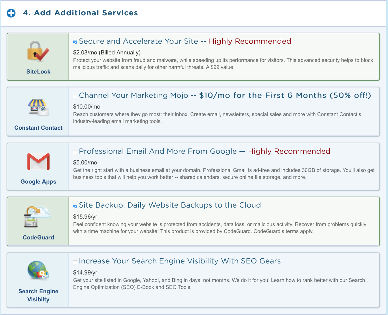 What services to avoid in Hostgator when setting up your site