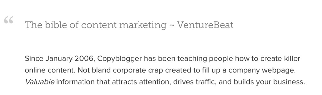 A bombastic claim on copyblogger's about page